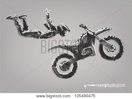 Acrobatic motorcycles jump show. Vector artwork in the style of ink drawing