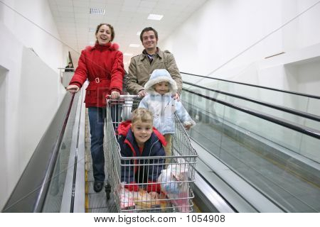 Family On Shop Elevator