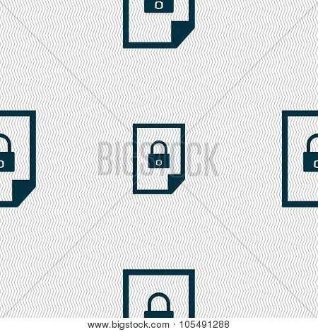 File Locked Icon Sign. Seamless Abstract Background With Geometric Shapes.