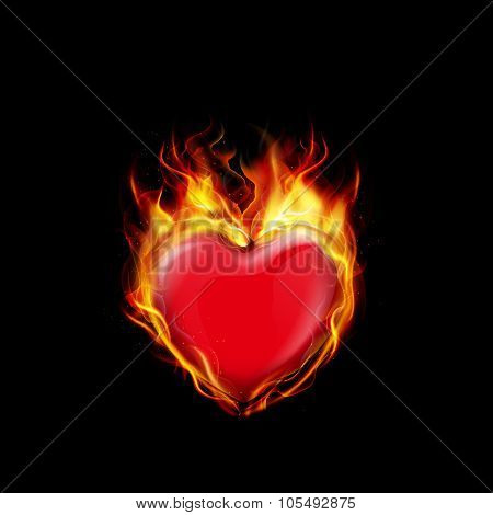 Fire burning a heart on black background
