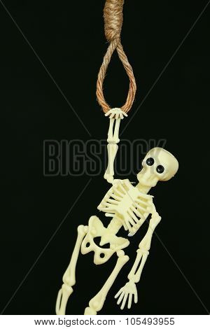 bankrupt concept, rope noose with hangman's knot hanging in front, Halloween background.