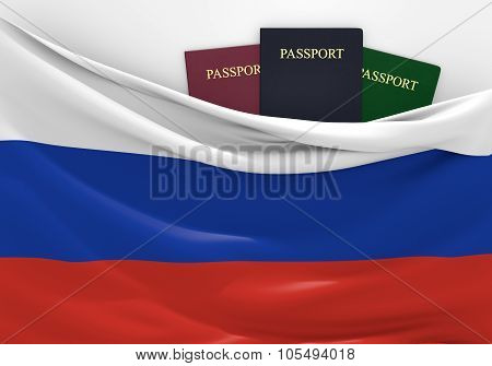 Travel and tourism in Russia, with assorted passports