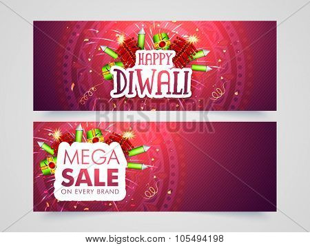Mega Sale website header or banner set with shiny firecrackers for Indian Festival of Lights, Happy Diwali celebration.