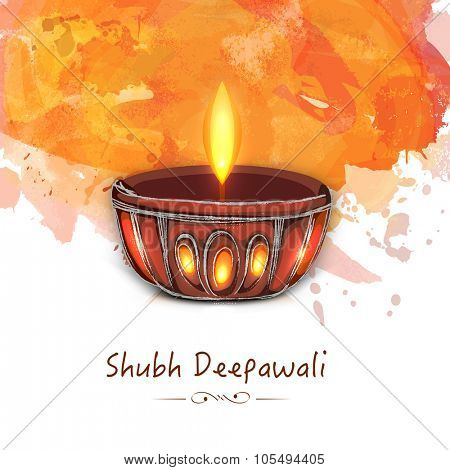 Creative illuminated lit lamp on colour splash background for Indian Festival of Lights, Shubh Deepawali (Happy Deepawali) celebration.