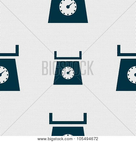 Kitchen Scales Icon Sign. Seamless Abstract Background With Geometric Shapes.