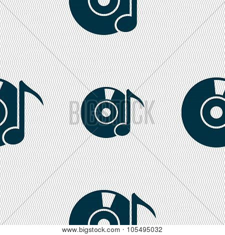 Cd Or Dvd Icon Sign. Seamless Abstract Background With Geometric Shapes.