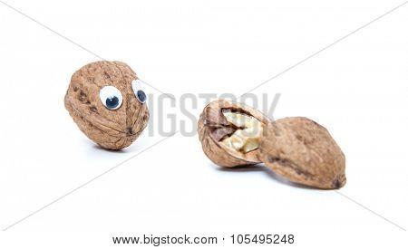 Walnut mit googly eyes next to cracked one
