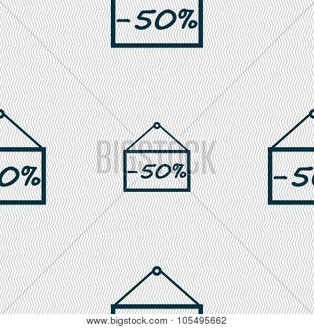 50 Discount Icon Sign. Seamless Abstract Background With Geometric Shapes.