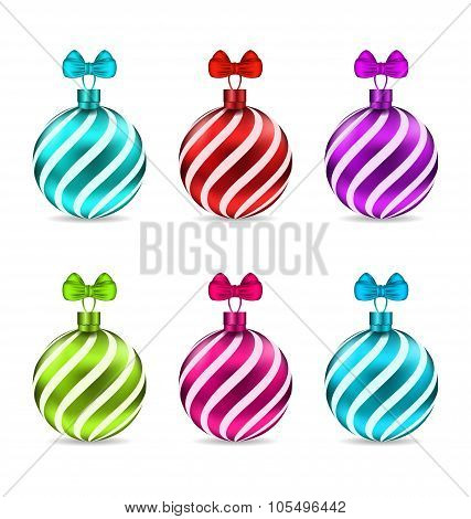 Set Christmas Colorful Glassy Balls