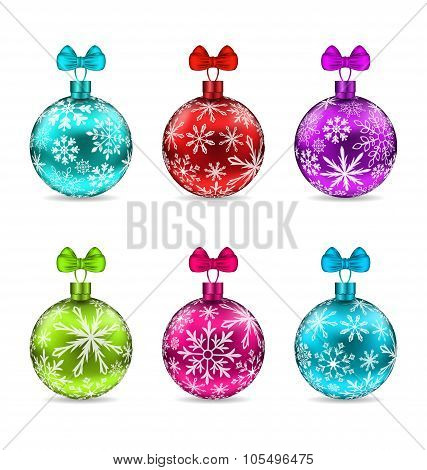 Collection Christmas Colorful Glassy Balls