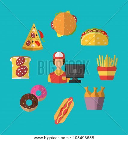 Set Fast Food Flat Icons with Cashier Seller