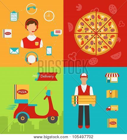 Funny pizza delivery boy riding red motor bike isolated on white background