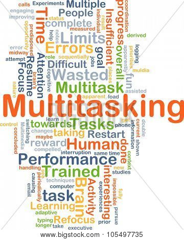 Background concept wordcloud illustration of multitasking