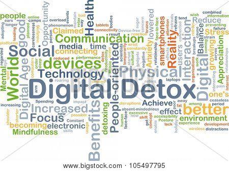 Background concept wordcloud illustration of digital detox