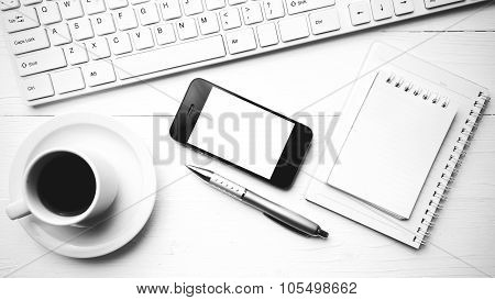 Cellphone With Computer And Coffee Cup Black And White Color Style