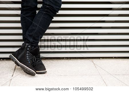 Man in suede boots