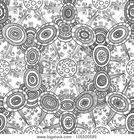 Vector Fractal Ethnic Forest Seamless Pattern For Halloween