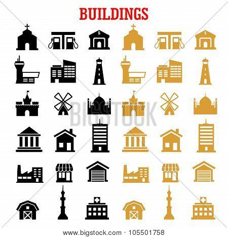 Black and yellow flat building icons