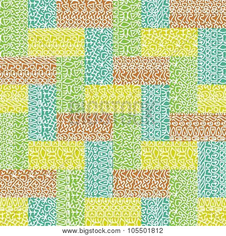Seamless doodle geometric pattern in domino style. Pastel colors.