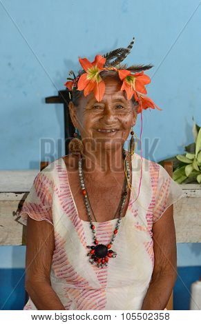 SANTA ANA VILLAGE, PERU - OCTOBER 16, 2015: Shaman in Santa Ana Village, near Iquitos, Peru. The medicine woman is an integral part of Amazonia culture.