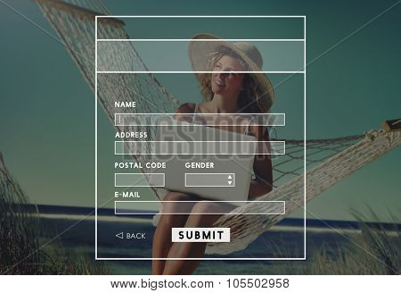 Beautiful Woman Sitting on a Hammock by the Beach