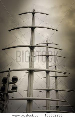 Three Masts And Radar On Sepia