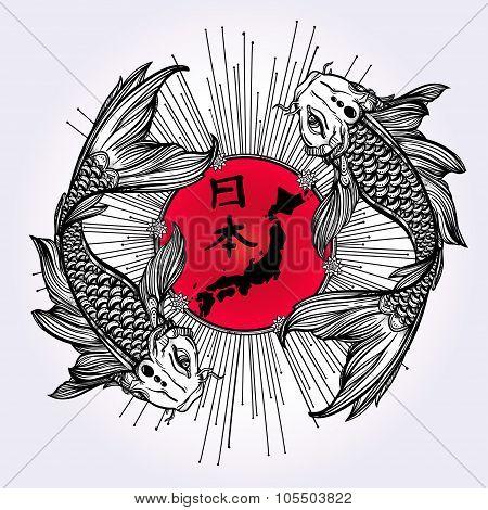 Koi carp with Japanese flag illustration.