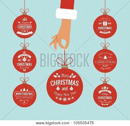 Flat hand holding christmas ball.
