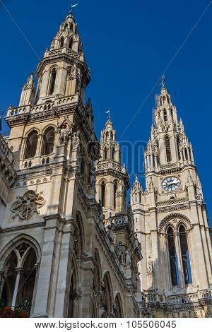 Vienna Townhall (rathaus) Towers-vienna, Austria