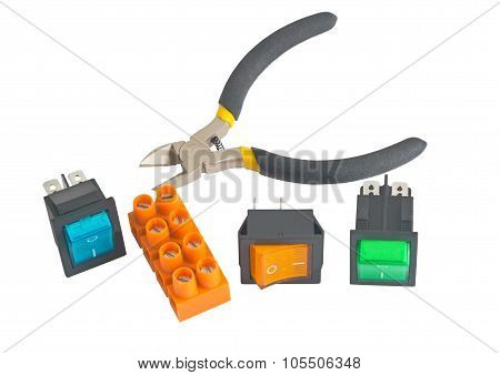 Plate Of Terminals, Pliers  And Switch
