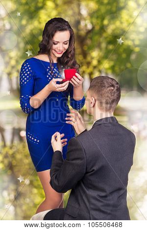 Young man makes a proposal his girlfriend