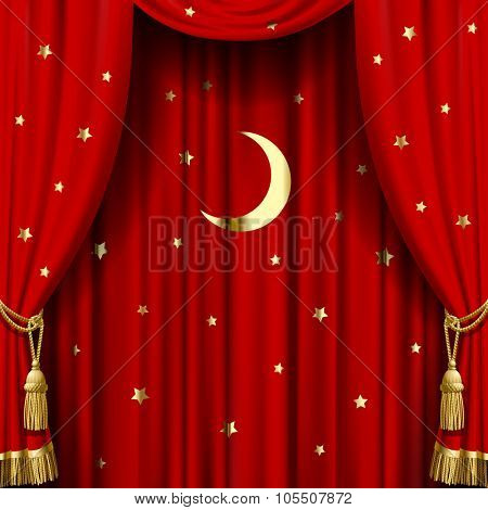 Red curtain with gold tassels, moon and stars. Square theater and Christmas background. Artistic poster.  Vector Illustration