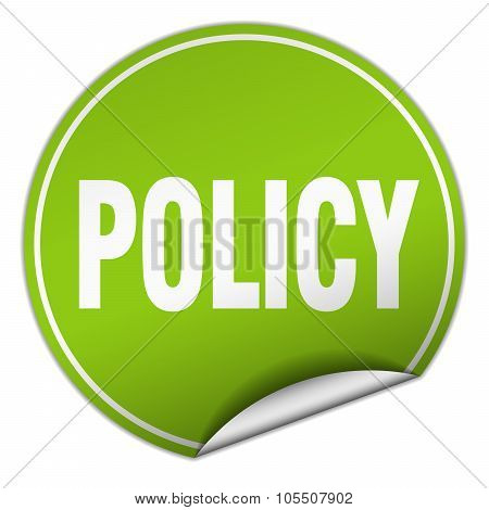 Policy Round Green Sticker Isolated On White