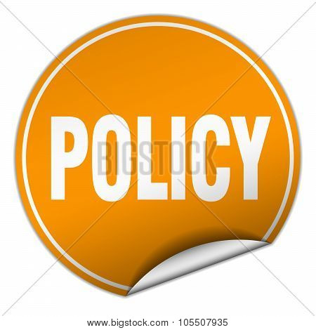 Policy Round Orange Sticker Isolated On White