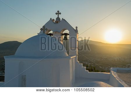 Saint antony church in Paros island against the sun.