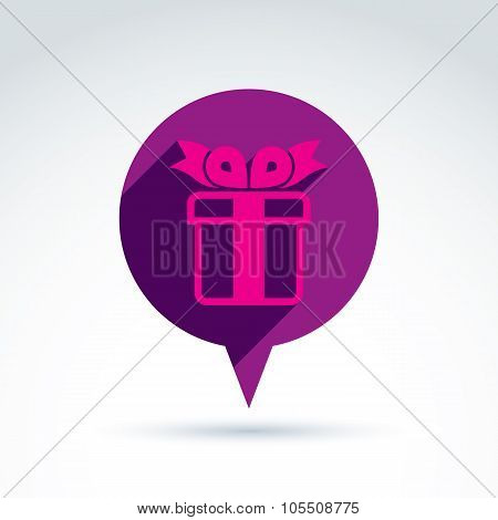 Speech Bubble With A Purple Gift Box Sign. Vector Present Icon. Chat On Birthday Theme.
