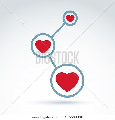 Vector Illustration Of Connection, Abstract Link Symbol, Conceptual Family Relationship Icon. Vector
