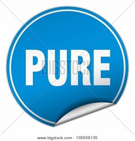 Pure Round Blue Sticker Isolated On White