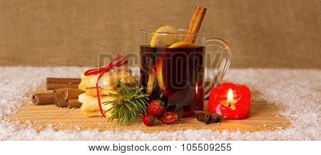 Christmas mulled wine and Advent candle.