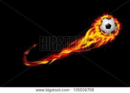 Fire burning Soccer ball with background black