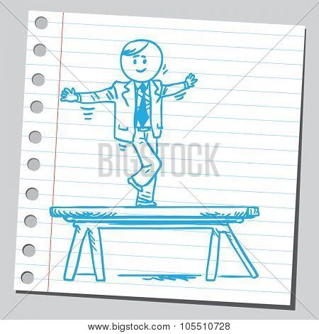 Businessman on balance beam
