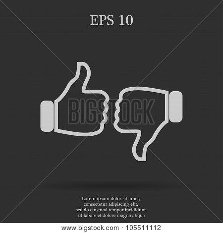 Thumb up icon, flat design
