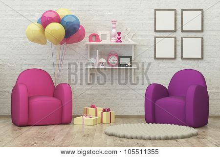 Kids Room Interior 3D Render Image, Pouf,balloons
