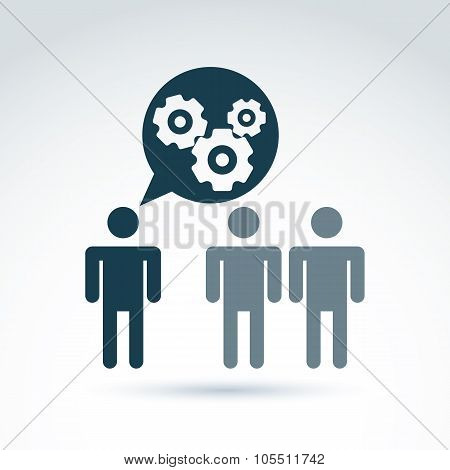 Gears And Cogs Working Team System Theme Icon, Dialog And Message, Vector Conceptual Stylish Symbol