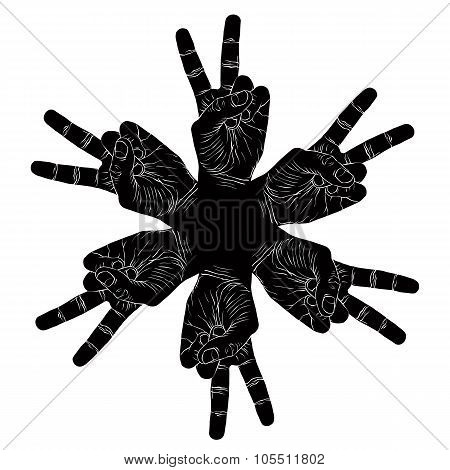Six Victory Hands Abstract Symbol, Black And White Vector Special Emblem With Human Hands.
