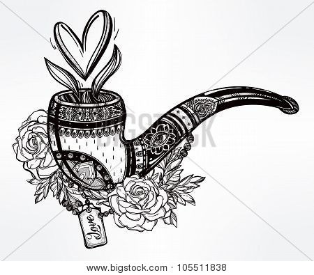 Tobacco pipe with bouquet and heart shaped smoke.