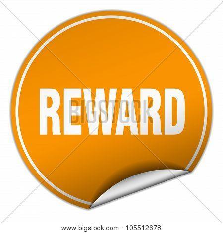 Reward Round Orange Sticker Isolated On White