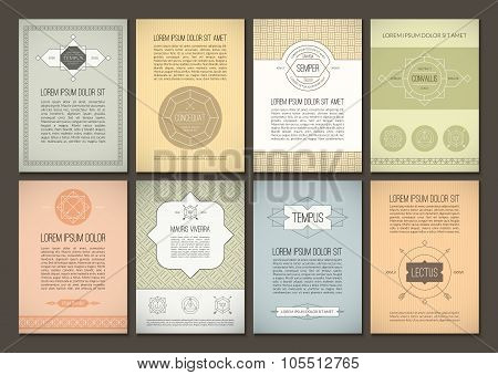 Set of vector brochures in vintage style