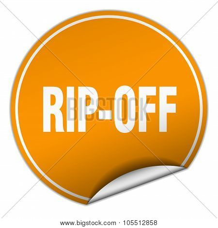 Rip-off Round Orange Sticker Isolated On White