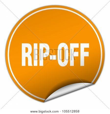 Rip-off Round Orange Sticker Isolated On White